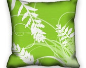 Throw Pillow Cover Modern Leaves Lime Green and White Unique Pillow Sham 18x18 ac060