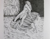 Original Fine Art Drawing Charon Wooden Boat on the sea Waves Graphite Drawing Dante Inferno