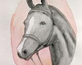 Original Watercolor Black Horse white blaze Original Painting Watercolor Fine Art