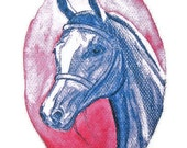 I love you Blue Horse Original Horse Painting Print Drawing Blue Horse 21 x 29,7 cm Watercolor