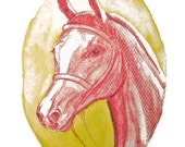 Original Watercolor Print Horse Drawing  Yellow Orange Red 21 x 29,7 cm Flame Horse Signed