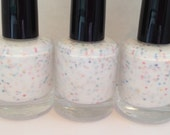 Woodsie's Wish - Matte Turquoise, Yellow, Blue, Pink, Orange, Hot Pink and Purple in a White Base Nail Polish - 15mL