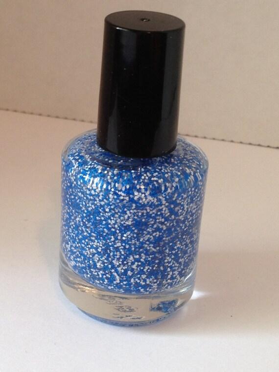 Nautical Nonsense - Matte Blue and White Glitter Polish 15mL