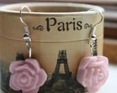 Pink Resin Rose Earrings.
