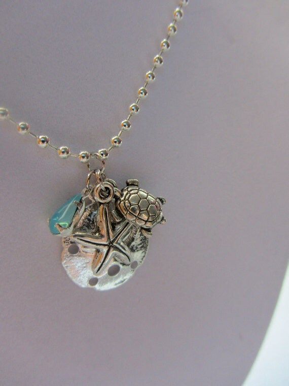 Silver Beach Charm Necklace with Blue Opal Vintage Glass