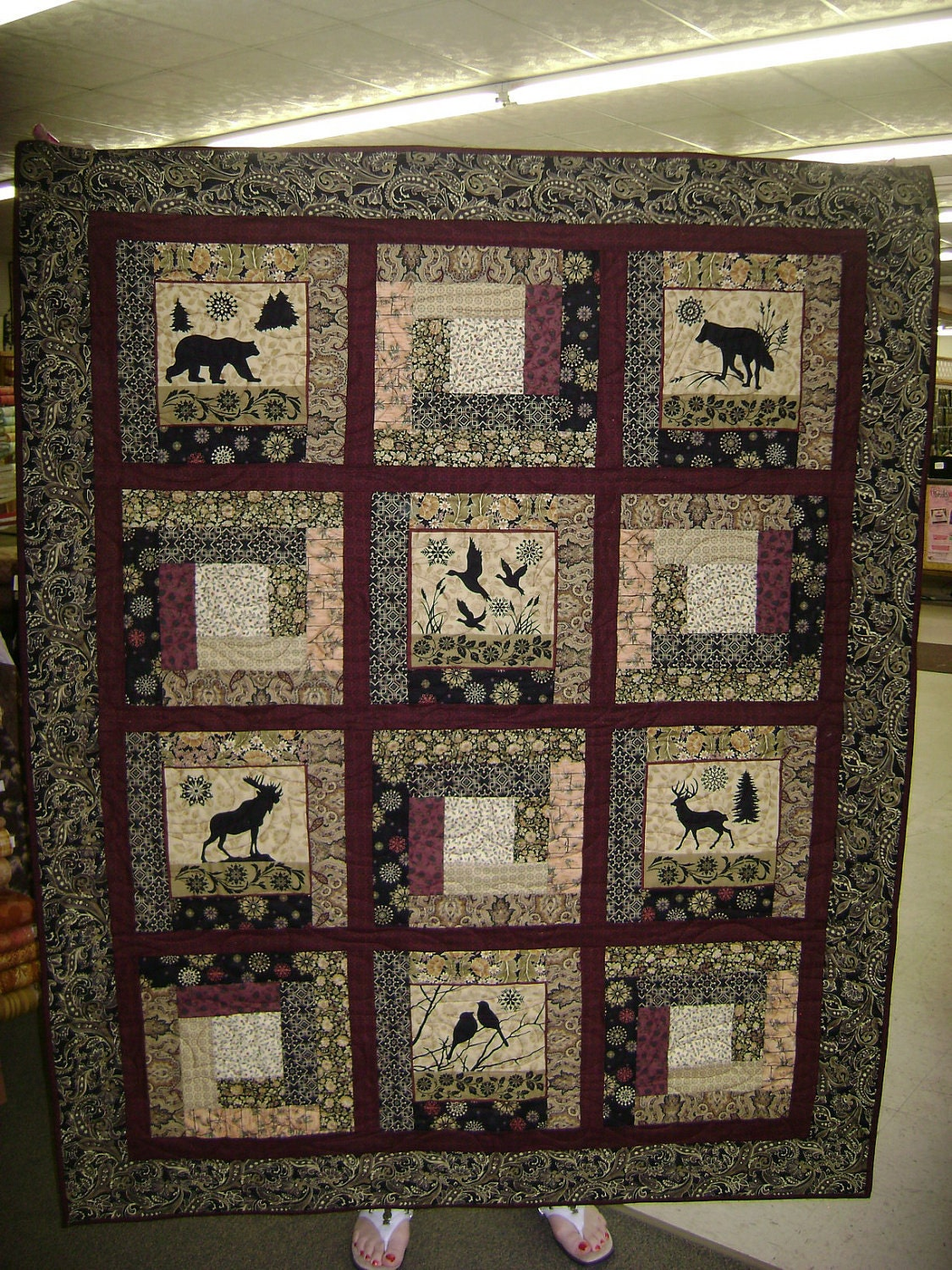 Northwoods Theme Quilt Wall Hanging By Elly S Yarn And