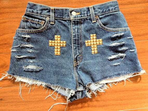 Size 26/27 Levi's Studded & Distressed High Waisted Shorts w/ Cross Detail