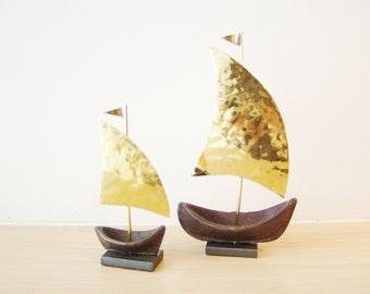 Brass sailboats sculptures, oxidised base golden hammered sails sailboats, Greek folk art, small Greek sailboats, set of two,made to order