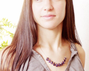 Amethyst golden necklace minimal sterling gold plated