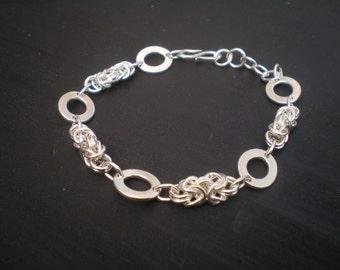 Handmade Byzantine and oval sterling silver link bracelet.