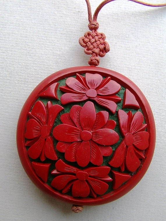 Pendant Red Flower Blossom Jewelry Wood Craft Oriental Hand Carved