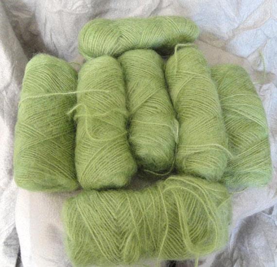 Lot of 7 Skeins Vintage Mohair Yarn, Sage Green