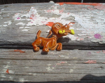 Adorable Tiny Vintage Shabby Chic Dog and Bone Brooch
