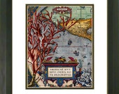 Vintage Print, Antique Map Print, Old Map, Coral, 8x10