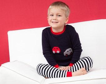 Hand Crochet Appliqué Car Pyjamas For Boys (Size 2-5)