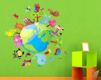 Globe & Animals Color sticker (verden,wereldbol,monde,globus,глобус)  (199f)