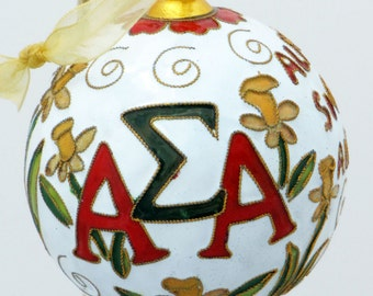 Alpha Sigma Alpha Cloisonne Ornament with 24k gold plating