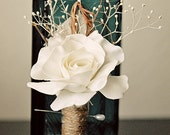 Grooms Boutonniere - Rustic Fabric flower