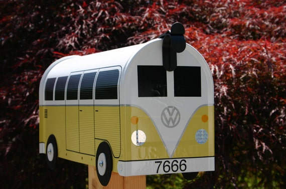 Yellow Volkswagen Bus Mailbox by TheBusBox Custom made - Choose your color - SplitBusBox