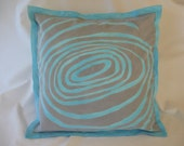 Hand Dyed Silver and Turquoise Cotton Pillow by Indigoose