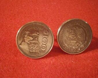 "Mexican 100 Pesos ""Fat Boy"" Coin Cufflink"
