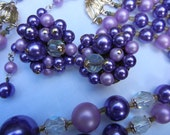 Vintage Purple with Crystal Multi-strand Necklace and Earrings Set