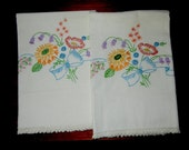 2 Vintage Pillowcases: Flowers Hand Embroidered with Hand Crocheted Lace Edging (1930's)