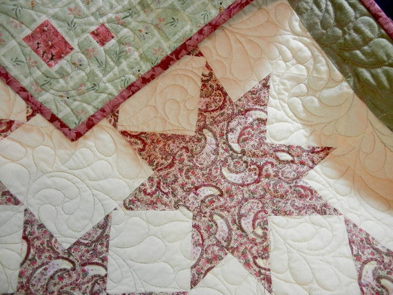 Child's Handmade Quilt (Lap Quilt  ) - Sawtooth Star Pattern in Cream Pink and Green