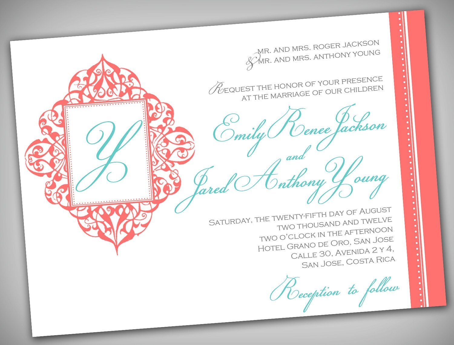 Items similar to Coral and Turquoise Printable Wedding ...