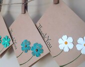 Handmade stamped thank you cards with turquoise and white flowers and hand drawn stems