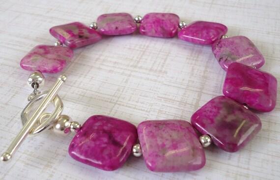 SALE Dyed Pink Jasper bracelet. Pink bracelet.
