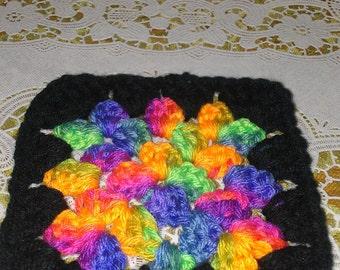 Retro vtg handmade coaster-black with bright rainbow colors