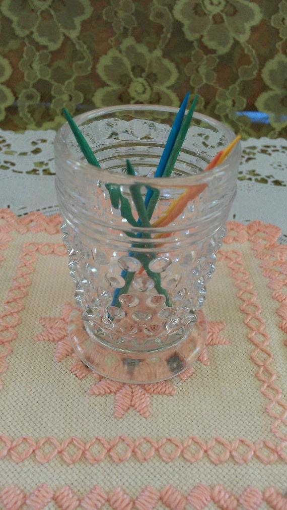 Clear vintage hobnail bud vase/toothpick holder