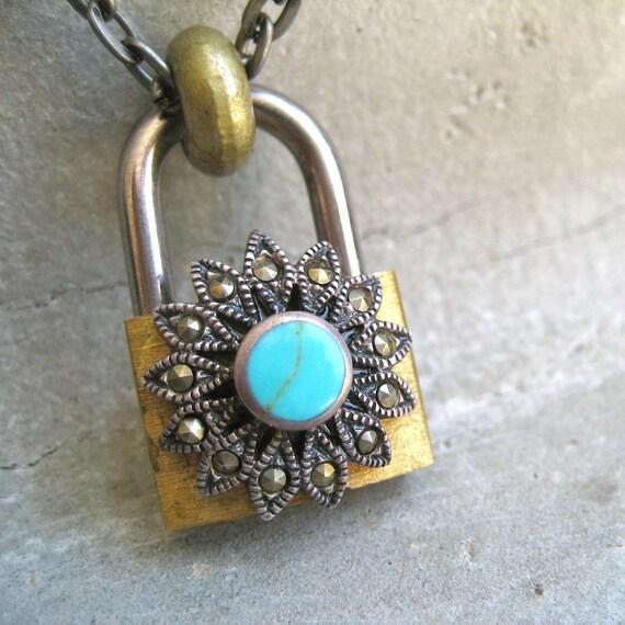 Padlock and Key Necklace - Hardware Jewelry - Turquoise Necklace - Lock Necklace - Key Necklace - Piece Lust