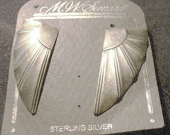 MW Samara Large  Sterling Silver Pierced Earrings With The Look of Wings