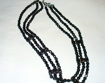 Gorgeous 3 Strand Black Glass Beaded Choker Necklace