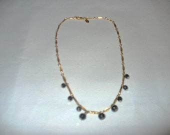 Very Nice Bar and Circle Gold Chain with Graduated Sized Black Beads
