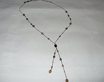 "Signed M and S 18"" Gold Y Chain Necklace with Citrine Color Beads"