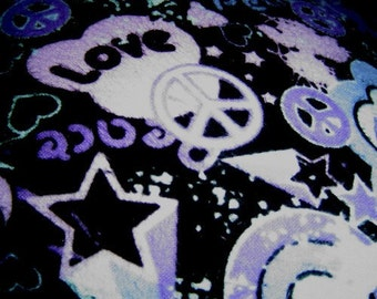 Purple Peace And Love Cuddle Print Pillow
