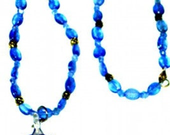 Blue Glass Necklace With Cross Pendant Spring Clasp