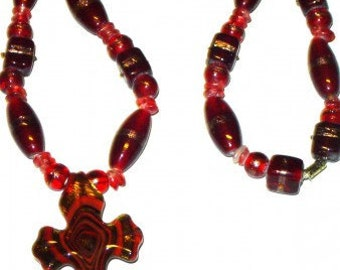 Glass Necklace With Cross Pendant Barrel Clasp