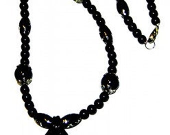 Black Glass Necklace With Cross Pendant Lobster Claw Clasp