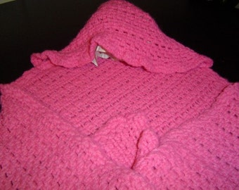 Berry Colored Crocheted Hooded Baby Blanket- CLEARANCE- Original 30.00