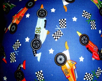 Hand Crafted Race Car Print Pillow