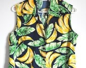 VTG 90's Womens Banana Print Sleeveless Button Down Shirt (S)