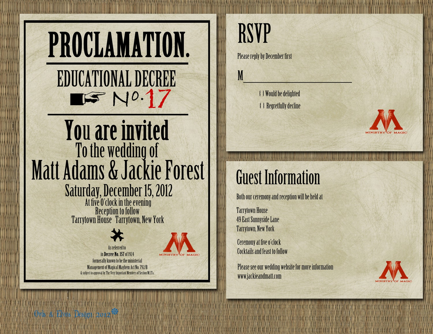 Printable Harry Potter Proclamation Wedding Invitation