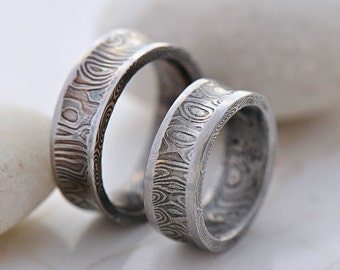 Custom Wedding Ring - Hand Forged concaved damascus Wedding Ring - Collium Line