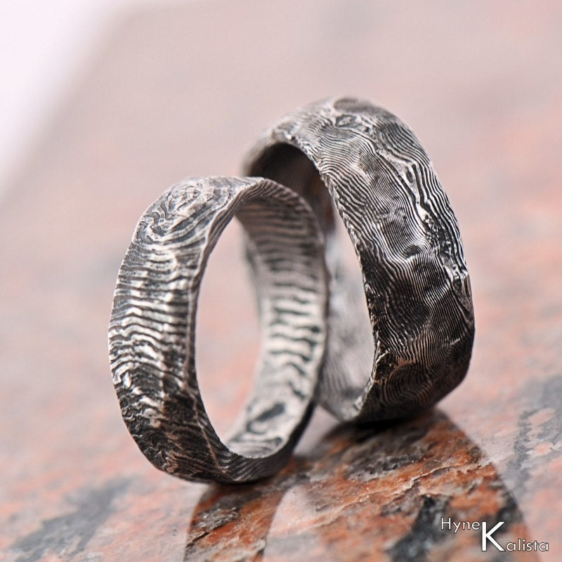 Damascus Steel Ring with 14k Rose Gold Inlay Custom Made ... |Damascus Steel Rings For Women