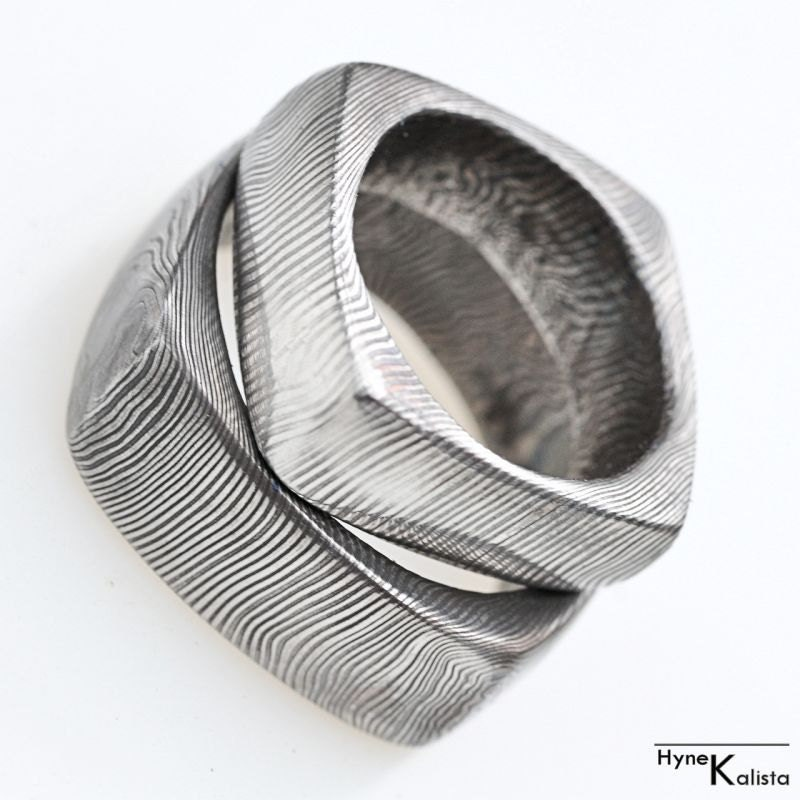 square wedding ring mens ring womens ring forged by