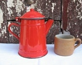 Red enamel French small coffee pot